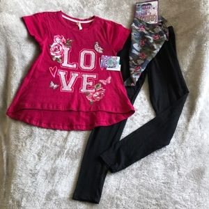 Other - Girls Love Shirt and Leggings W/Free Scarf. Sz 7/8